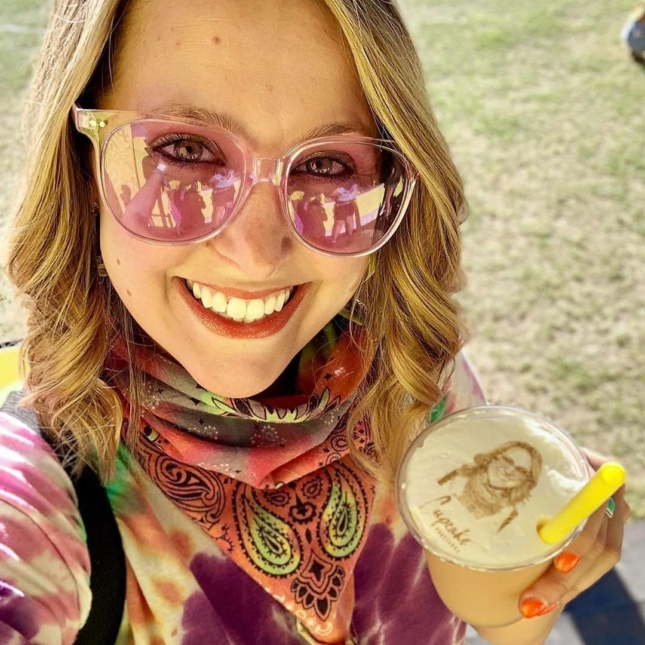 Woman at a music festival with a Cupcake Frozie
